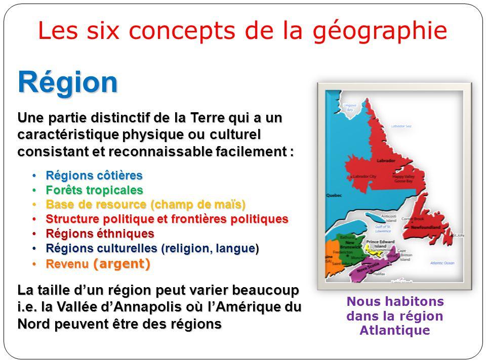 Région Une partie distinctif de la Terre qui a un caractéristique physique ou culturel consistant et reconnaissable facilement : Régions côtièresRégio