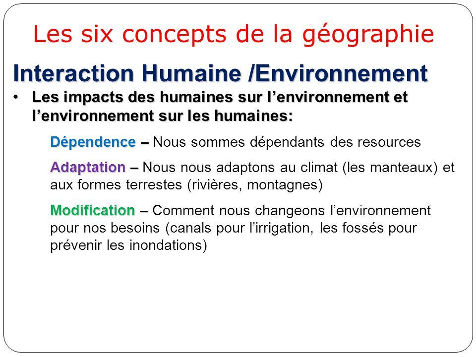 Interaction Humaine /Environnement Les impacts des humaines sur l'environnement et l'environnement sur les humaines:Les impacts des humaines sur l'env