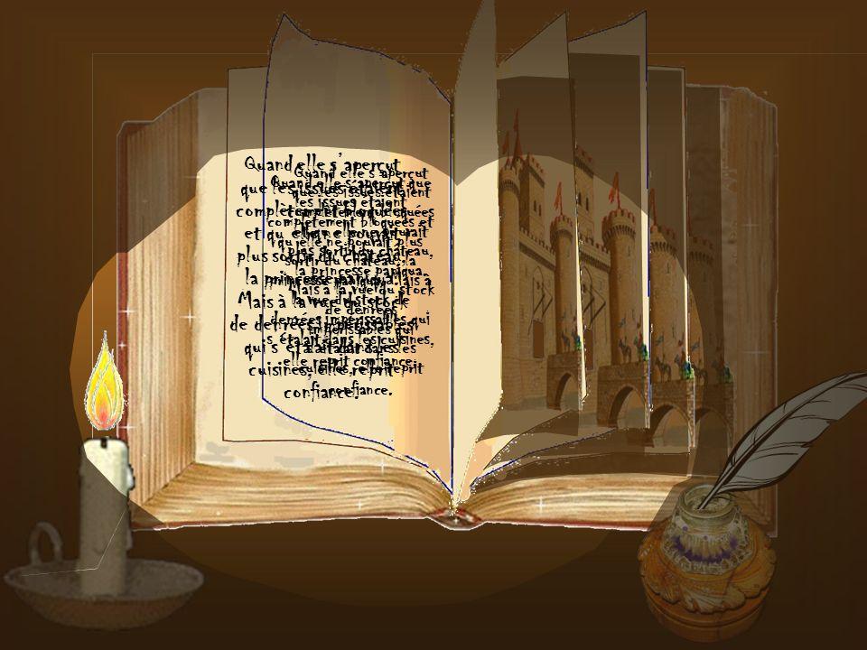 La princesse ignorait qu'à ce moment précis une méchante sorcière, jalouse du roi, lançait un sortilège interdisant à quiconque d'entrer ou de sortir du château, condamnant ainsi la petite Totoche à vivre seule, cloîtrée dans ce château.