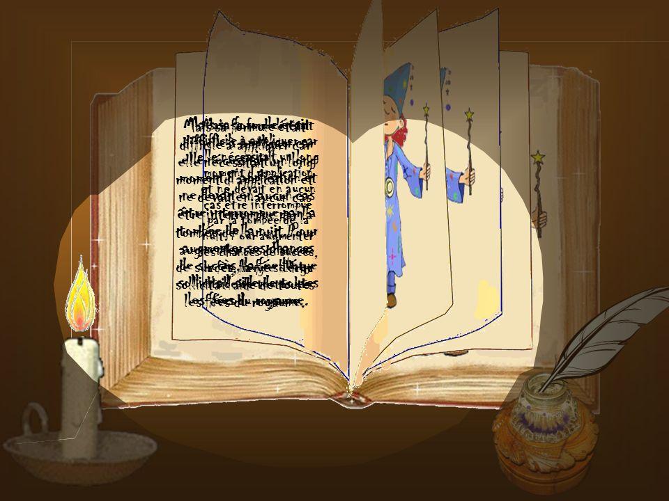 C'est alors que la bonne fée Hérye décida de venir en aide au roi et se lança à corps perdu dans la recherche d'une formule magique capable de conjure