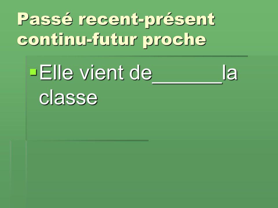Passé recent-présent continu-futur proche  Elle vient de______la classe