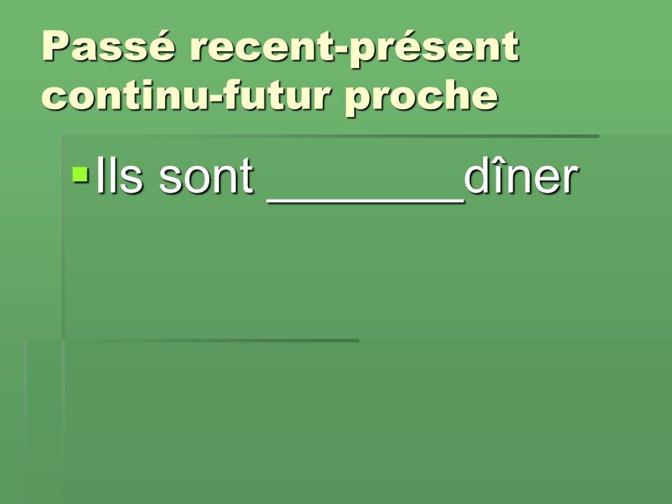 Passé recent-présent continu-futur proche  Ils sont _______dîner