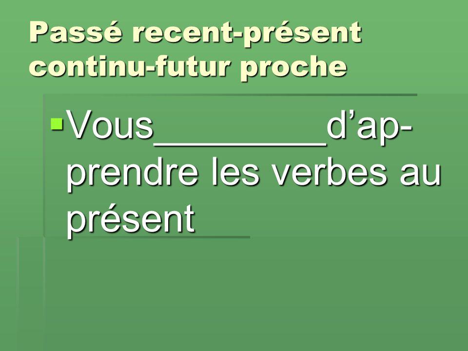 Passé recent-présent continu-futur proche  Vous________d'ap- prendre les verbes au présent