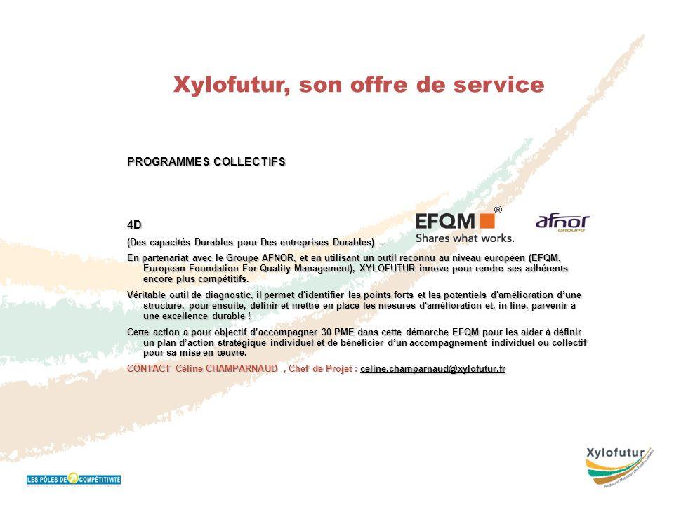 Réunion Bureau 16 novembre 2011 Xylofutur, son offre de service PROGRAMMES COLLECTIFS 4D (Des capacités Durables pour Des entreprises Durables) – En p