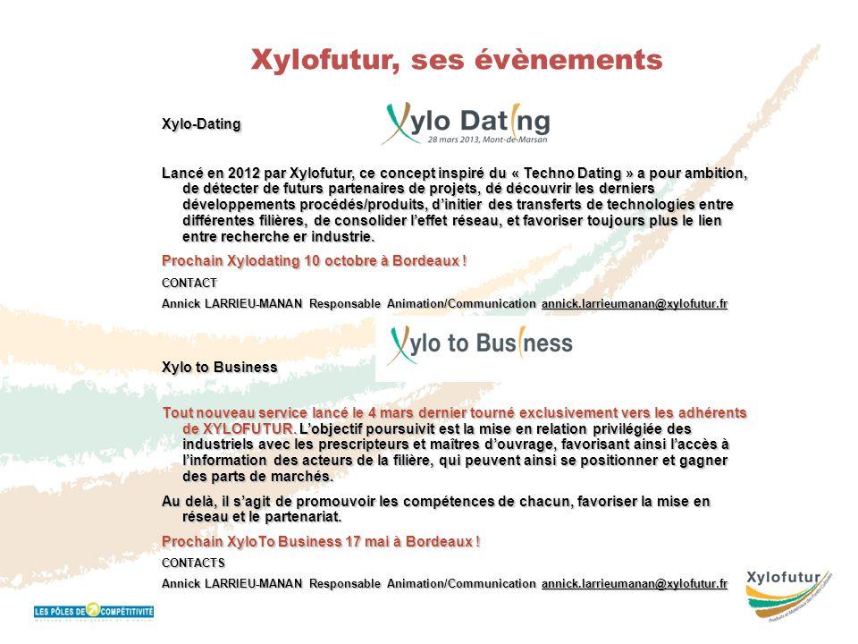 Réunion Bureau 16 novembre 2011 Xylofutur, ses évènementsXylo-Dating Lancé en 2012 par Xylofutur, ce concept inspiré du « Techno Dating » a pour ambit