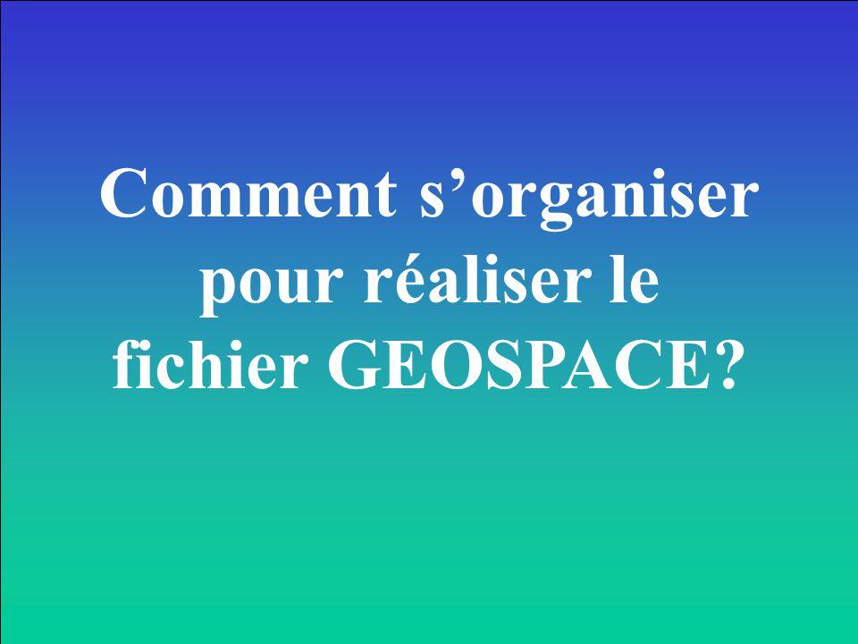 Comment s'organiser pour réaliser le fichier GEOSPACE?