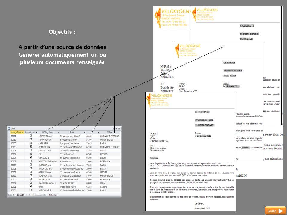 Objectifs : A partir d'une source de données Générer automatiquement un ou plusieurs documents renseignés