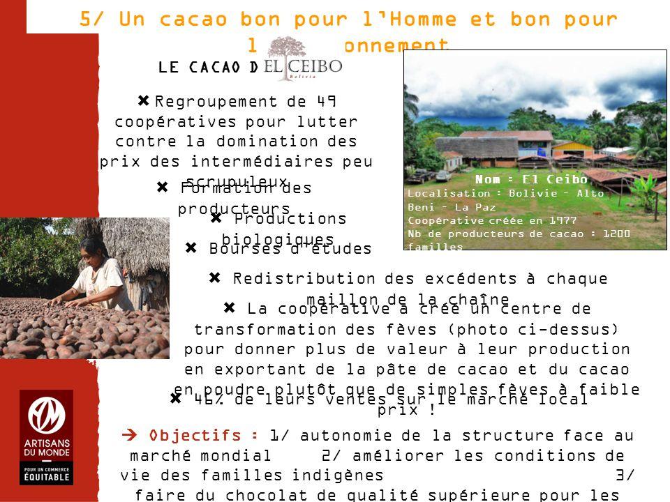 Chiffres 5/ Un cacao bon pour l'Homme et bon pour l'environnement  Regroupement de 49 coopératives pour lutter contre la domination des prix des inte
