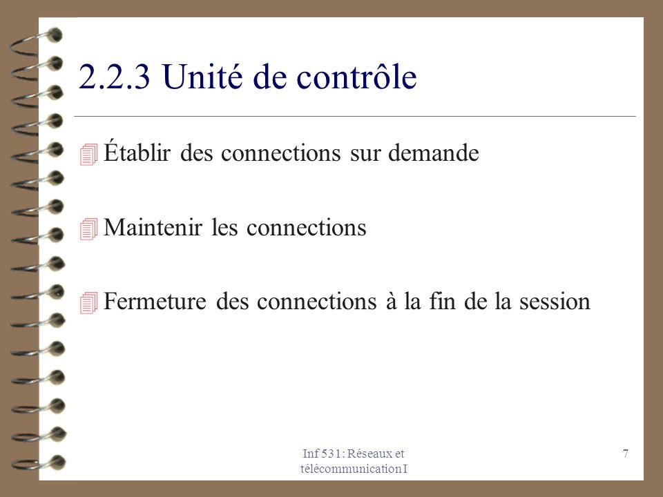 Inf 531: Réseaux et télécommunication I 8 2.3 Réseau à commutation de paquets 4 Les technologies X.25, RNIS, ATM et frame- relay 4 Les informations sont fractionnées en paquets et chaque paquet est commuté séparément 4 Avantages: meilleur efficacité de la ligne, on peut donner des priorités.