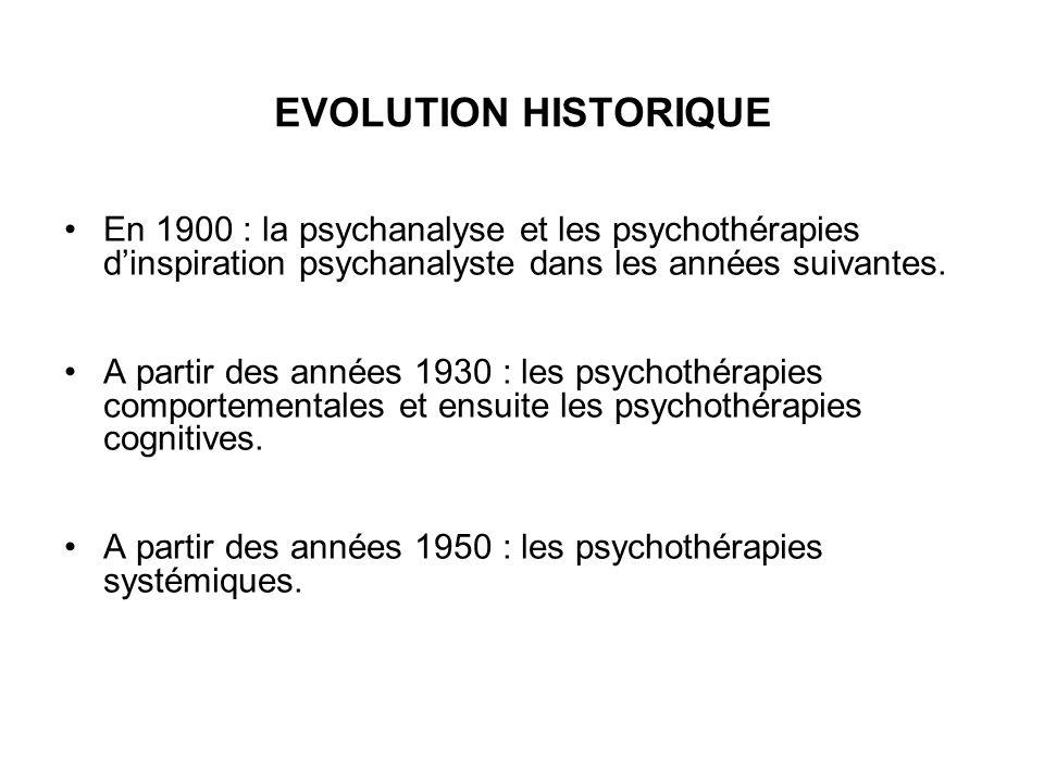 EVOLUTION HISTORIQUE En 1900 : la psychanalyse et les psychothérapies d'inspiration psychanalyste dans les années suivantes. A partir des années 1930