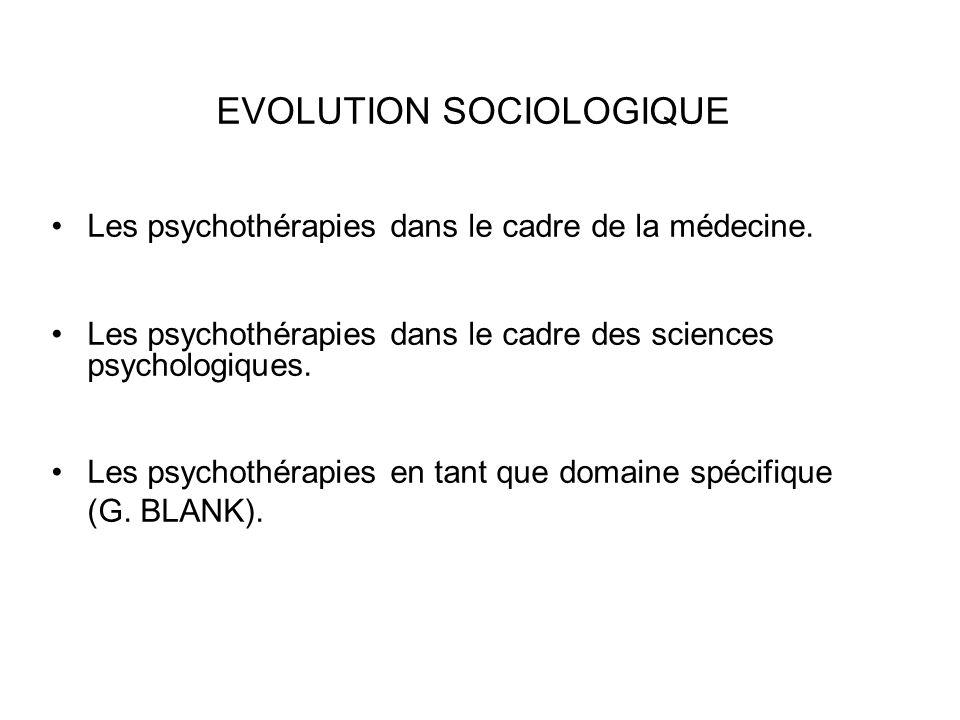 EVOLUTION SOCIOLOGIQUE Les psychothérapies dans le cadre de la médecine. Les psychothérapies dans le cadre des sciences psychologiques. Les psychothér