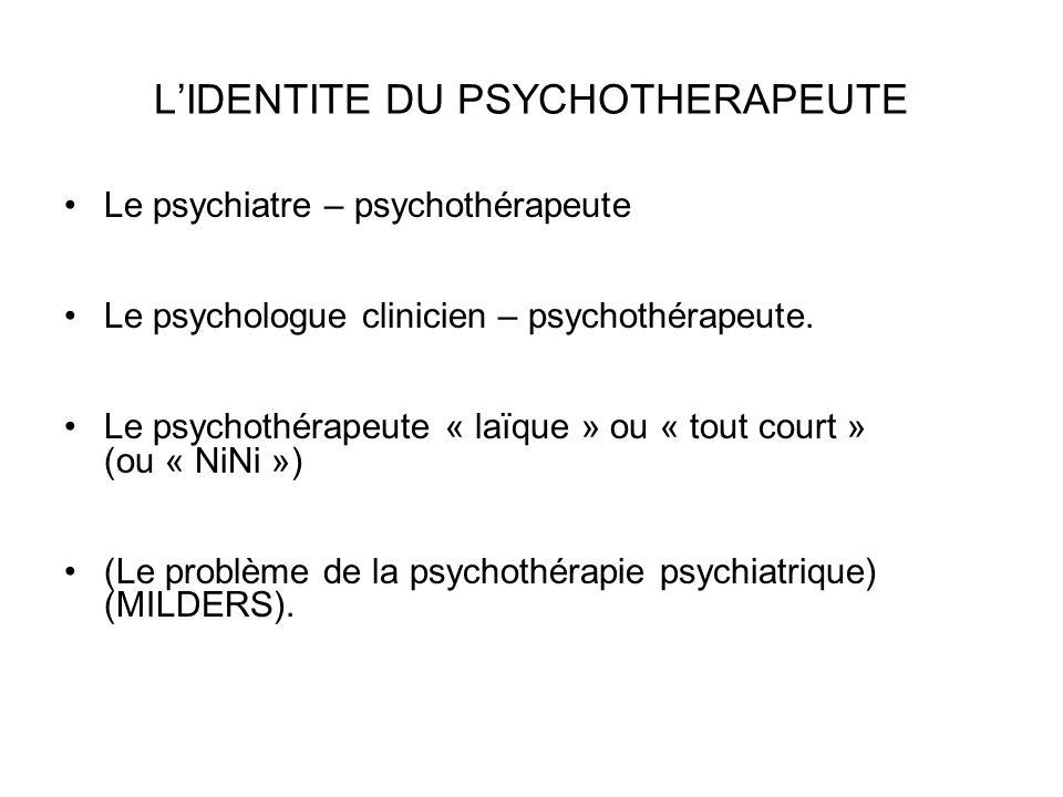 L'IDENTITE DU PSYCHOTHERAPEUTE Le psychiatre – psychothérapeute Le psychologue clinicien – psychothérapeute.