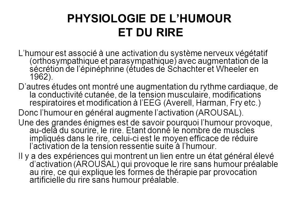 PHYSIOLOGIE DE L'HUMOUR ET DU RIRE L'humour est associé à une activation du système nerveux végétatif (orthosympathique et parasympathique) avec augmentation de la sécrétion de l'épinéphrine (études de Schachter et Wheeler en 1962).