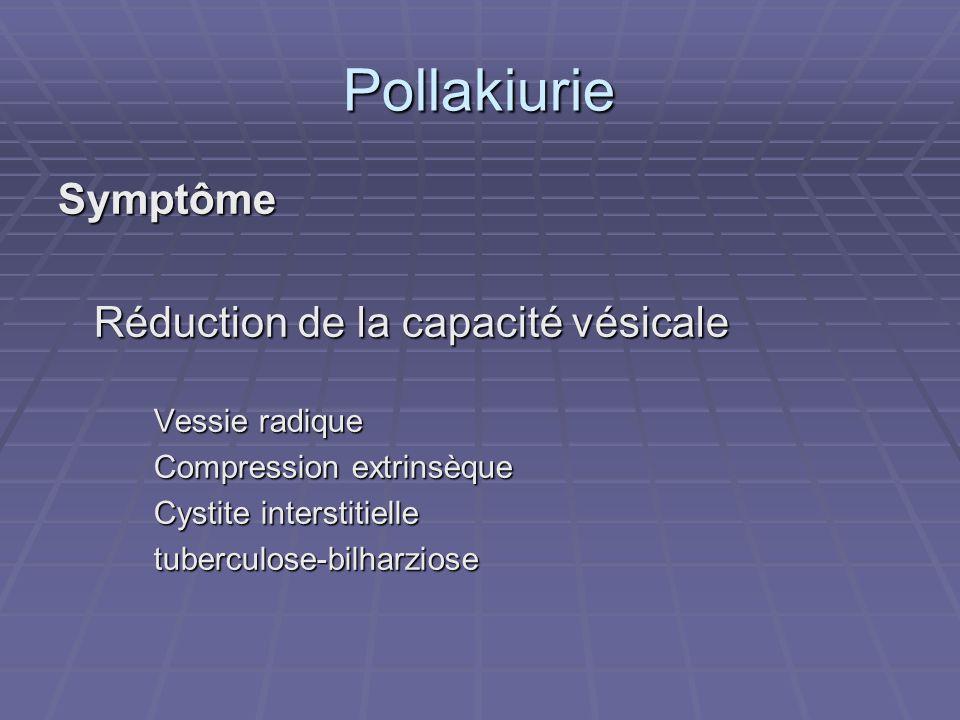 Pollakiurie Symptôme Réduction de la capacité vésicale Vessie radique Compression extrinsèque Cystite interstitielle tuberculose-bilharziose