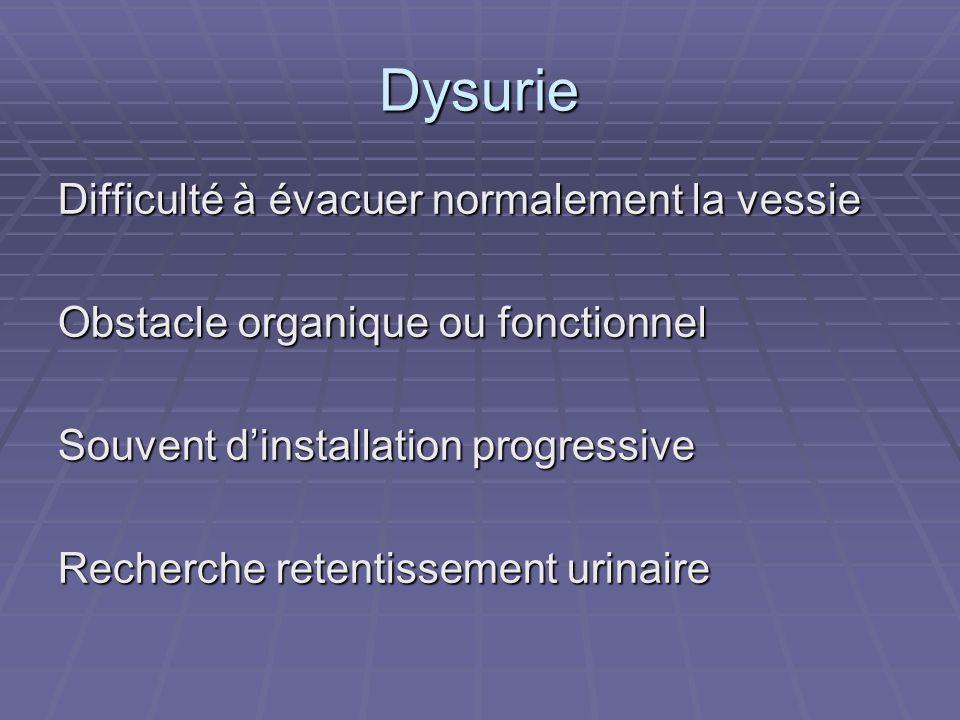 Dysurie Difficulté à évacuer normalement la vessie Obstacle organique ou fonctionnel Souvent d'installation progressive Recherche retentissement urina