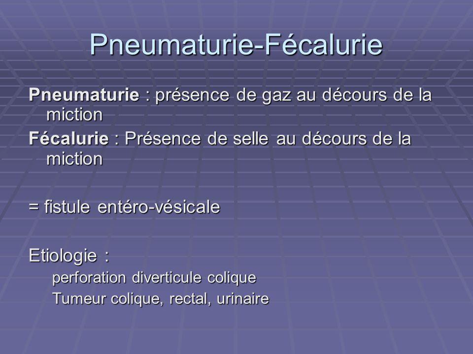 Pneumaturie-Fécalurie Pneumaturie : présence de gaz au décours de la miction Fécalurie : Présence de selle au décours de la miction = fistule entéro-v