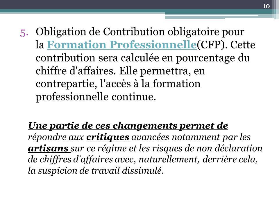 5.Obligation de Contribution obligatoire pour la Formation Professionnelle(CFP). Cette contribution sera calculée en pourcentage du chiffre d'affaires
