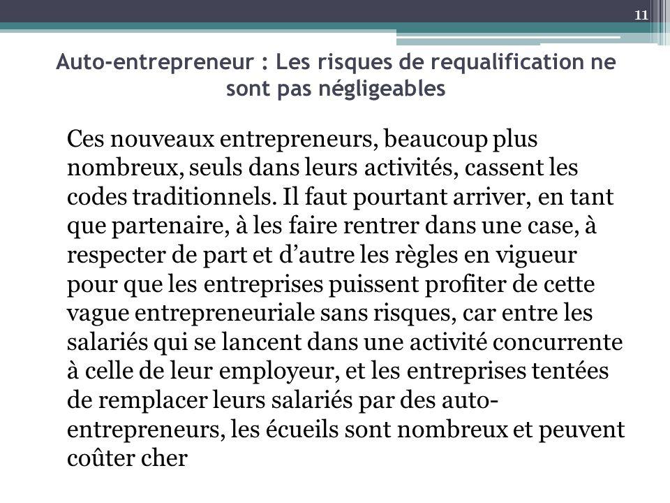 Auto-entrepreneur : Les risques de requalification ne sont pas négligeables Ces nouveaux entrepreneurs, beaucoup plus nombreux, seuls dans leurs activ