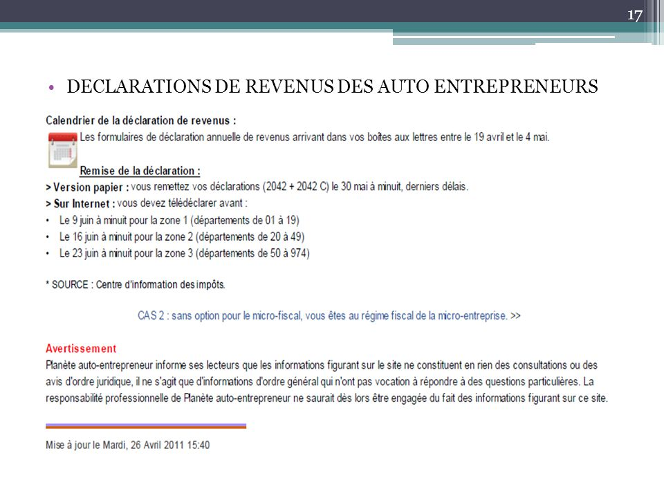 DECLARATIONS DE REVENUS DES AUTO ENTREPRENEURS 17