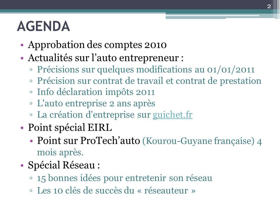 AGENDA Approbation des comptes 2010 Actualités sur l'auto entrepreneur : ▫Précisions sur quelques modifications au 01/01/2011 ▫Précision sur contrat d