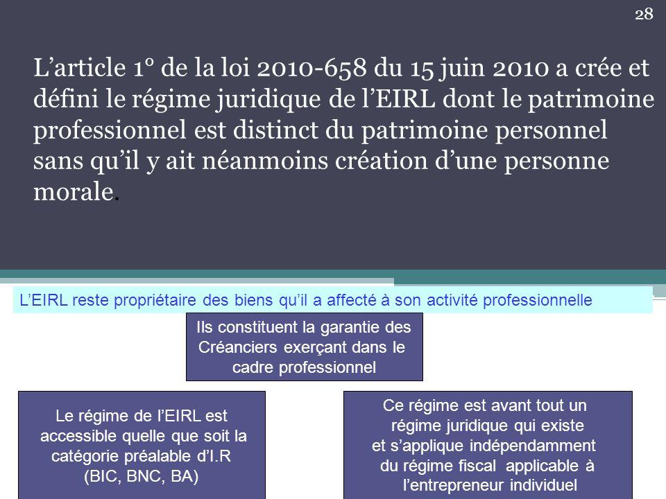 L'article 1° de la loi 2010-658 du 15 juin 2010 a crée et défini le régime juridique de l'EIRL dont le patrimoine professionnel est distinct du patrim