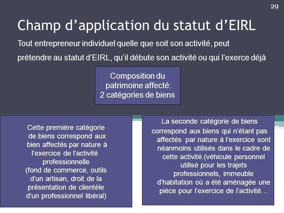 Champ d'application du statut d'EIRL Tout entrepreneur individuel quelle que soit son activité, peut prétendre au statut d'EIRL, qu'il débute son acti