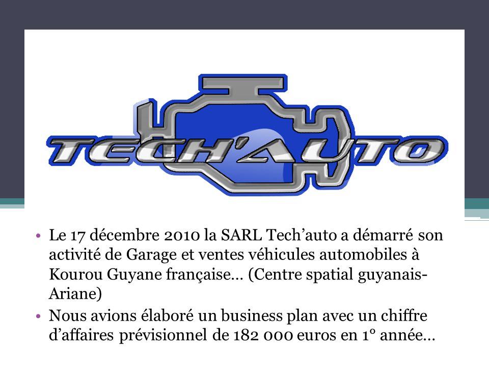 Le 17 décembre 2010 la SARL Tech'auto a démarré son activité de Garage et ventes véhicules automobiles à Kourou Guyane française… (Centre spatial guya