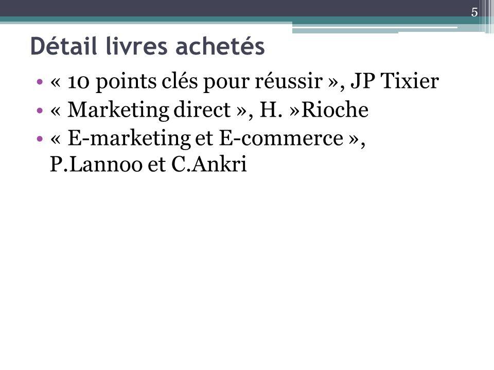 Détail livres achetés « 10 points clés pour réussir », JP Tixier « Marketing direct », H. »Rioche « E-marketing et E-commerce », P.Lannoo et C.Ankri 5