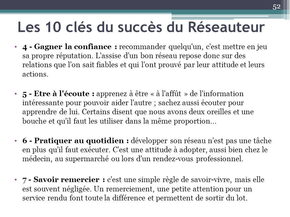 Les 10 clés du succès du Réseauteur 4 - Gagner la confiance : recommander quelqu'un, c'est mettre en jeu sa propre réputation. L'assise d'un bon résea