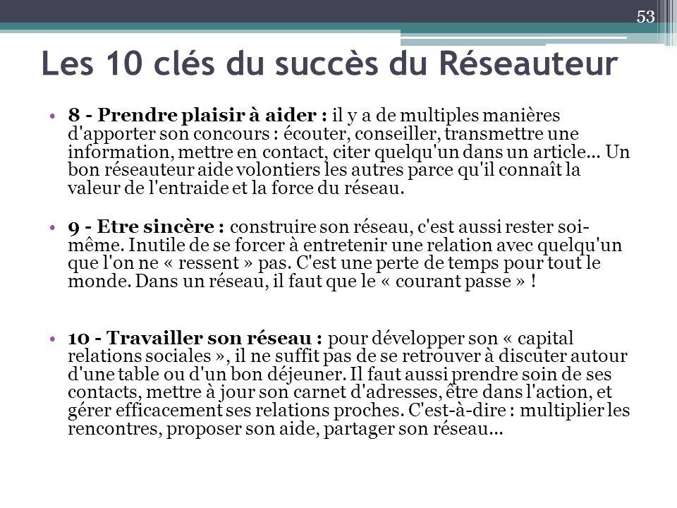 Les 10 clés du succès du Réseauteur 8 - Prendre plaisir à aider : il y a de multiples manières d'apporter son concours : écouter, conseiller, transmet