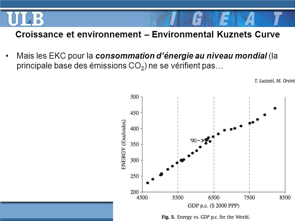 Croissance et environnement – Environmental Kuznets Curve Mais les EKC pour la consommation d'énergie au niveau mondial (la principale base des émissions CO 2 ) ne se vérifient pas…