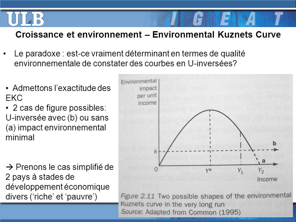 Croissance et environnement – Environmental Kuznets Curve Le paradoxe : est-ce vraiment déterminant en termes de qualité environnementale de constater des courbes en U-inversées.