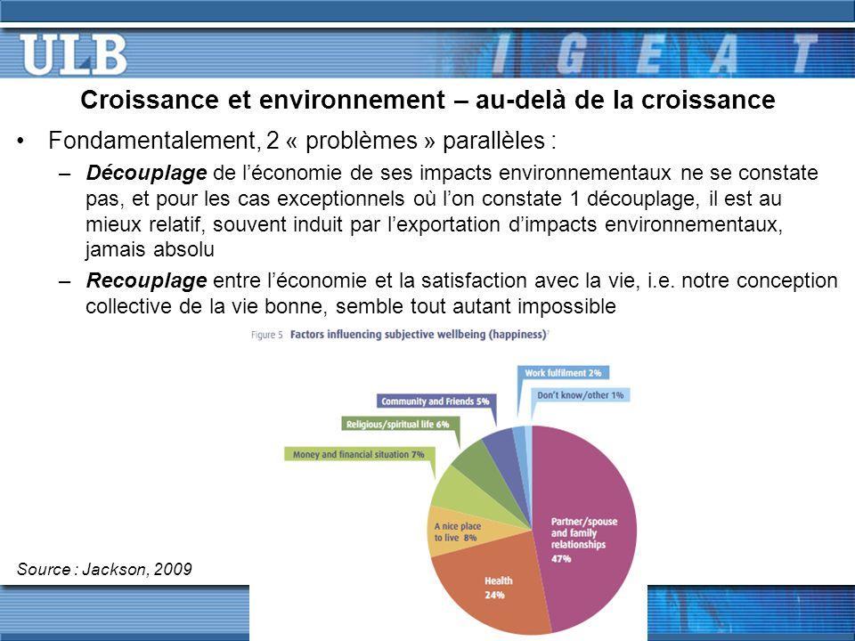 Croissance et environnement – au-delà de la croissance Fondamentalement, 2 « problèmes » parallèles : –Découplage de l'économie de ses impacts environnementaux ne se constate pas, et pour les cas exceptionnels où l'on constate 1 découplage, il est au mieux relatif, souvent induit par l'exportation d'impacts environnementaux, jamais absolu –Recouplage entre l'économie et la satisfaction avec la vie, i.e.