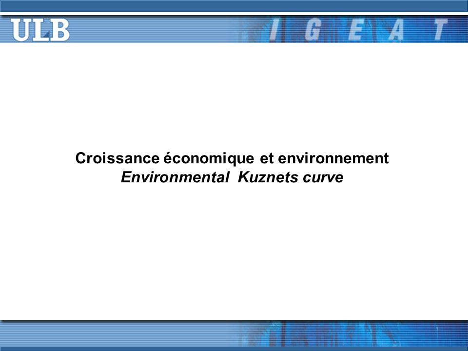 Croissance et environnement – Environmental Kuznets Curve En y incluant les émissions « importées », i.e.