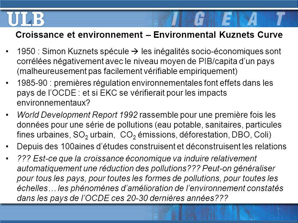 Croissance et environnement – Environmental Kuznets Curve 1950 : Simon Kuznets spécule  les inégalités socio-économiques sont corrélées négativement avec le niveau moyen de PIB/capita d'un pays (malheureusement pas facilement vérifiable empiriquement) 1985-90 : premières régulation environnementales font effets dans les pays de l'OCDE : et si EKC se vérifierait pour les impacts environnementaux.