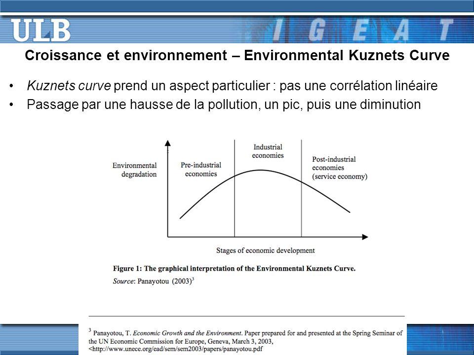 Croissance et environnement – Environmental Kuznets Curve Kuznets curve prend un aspect particulier : pas une corrélation linéaire Passage par une hausse de la pollution, un pic, puis une diminution