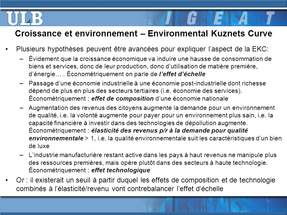 Croissance et environnement – Environmental Kuznets Curve EKC par rapport à l'empreinte écologique .