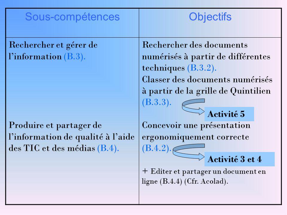 Sous-compétencesObjectifs Rechercher et gérer de l'information (B.3). Produire et partager de l'information de qualité à l'aide des TIC et des médias