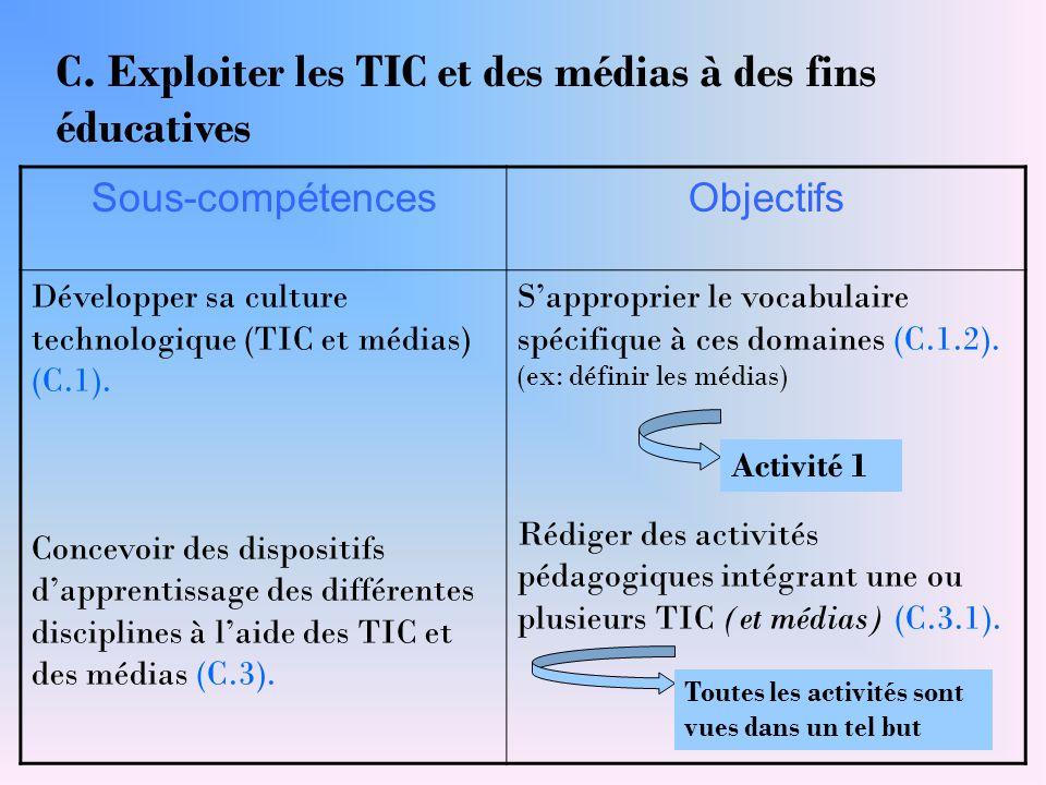 Sous-compétencesObjectifs Développer sa culture technologique (TIC et médias) (C.1). Concevoir des dispositifs d'apprentissage des différentes discipl
