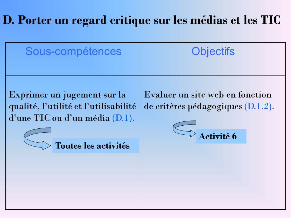 Sous-compétencesObjectifs Exprimer un jugement sur la qualité, l'utilité et l'utilisabilité d'une TIC ou d'un média (D.1). Evaluer un site web en fonc