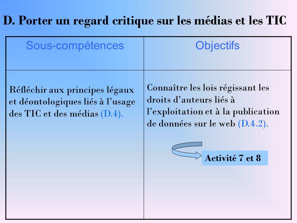 Sous-compétencesObjectifs Réfléchir aux principes légaux et déontologiques liés à l'usage des TIC et des médias (D.4). Connaître les lois régissant le