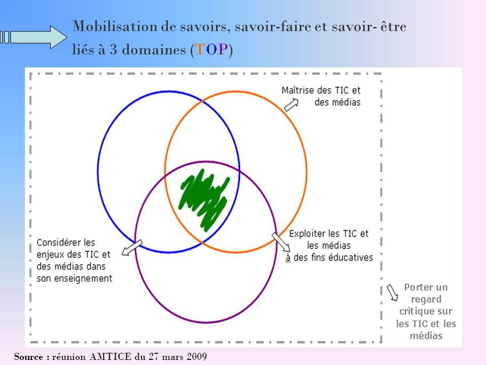 Mobilisation de savoirs, savoir-faire et savoir- être liés à 3 domaines (TOP) Source : réunion AMTICE du 27 mars 2009