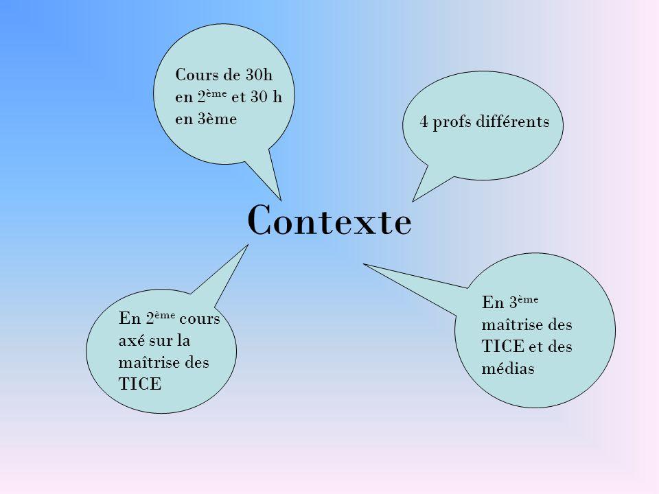 Contexte Cours de 30h en 2 ème et 30 h en 3ème En 3 ème maîtrise des TICE et des médias En 2 ème cours axé sur la maîtrise des TICE 4 profs différents