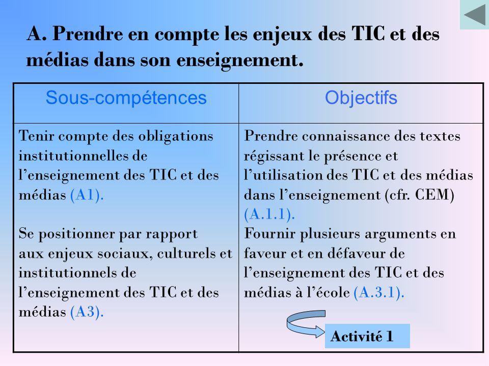 Sous-compétencesObjectifs Tenir compte des obligations institutionnelles de l'enseignement des TIC et des médias (A1). Se positionner par rapport aux