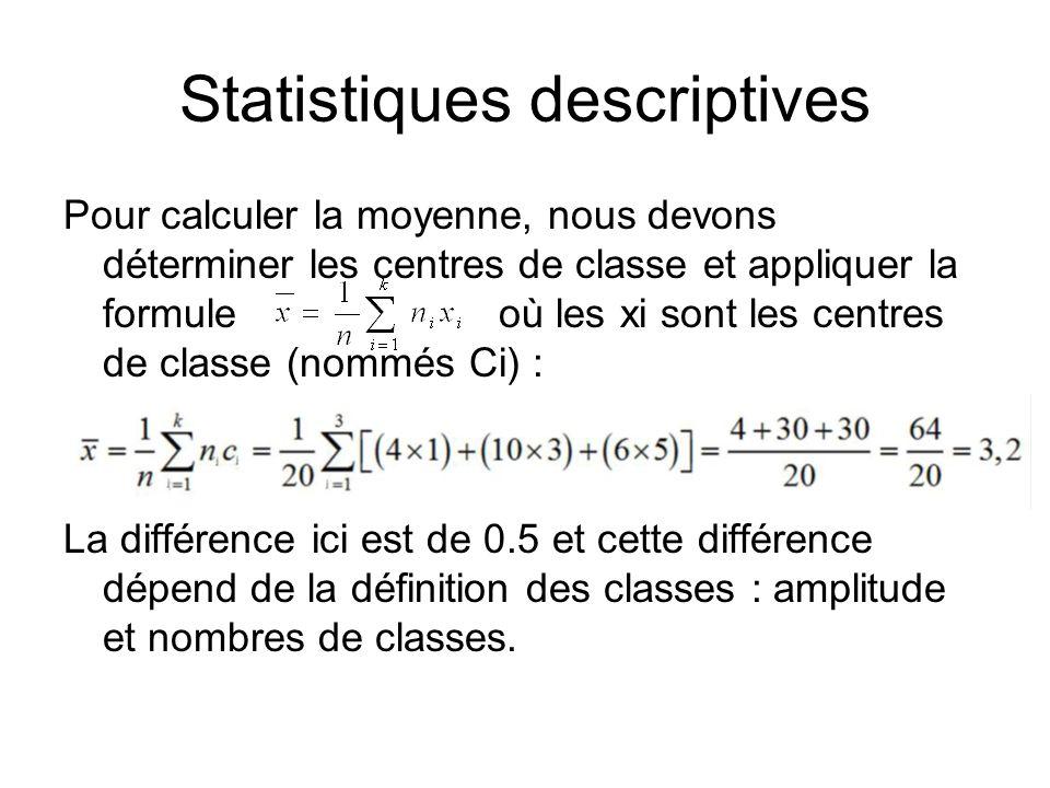 Statistiques descriptives Pour calculer la moyenne, nous devons déterminer les centres de classe et appliquer la formule où les xi sont les centres de