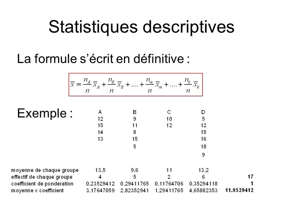 Statistiques descriptives La formule s'écrit en définitive : Exemple :