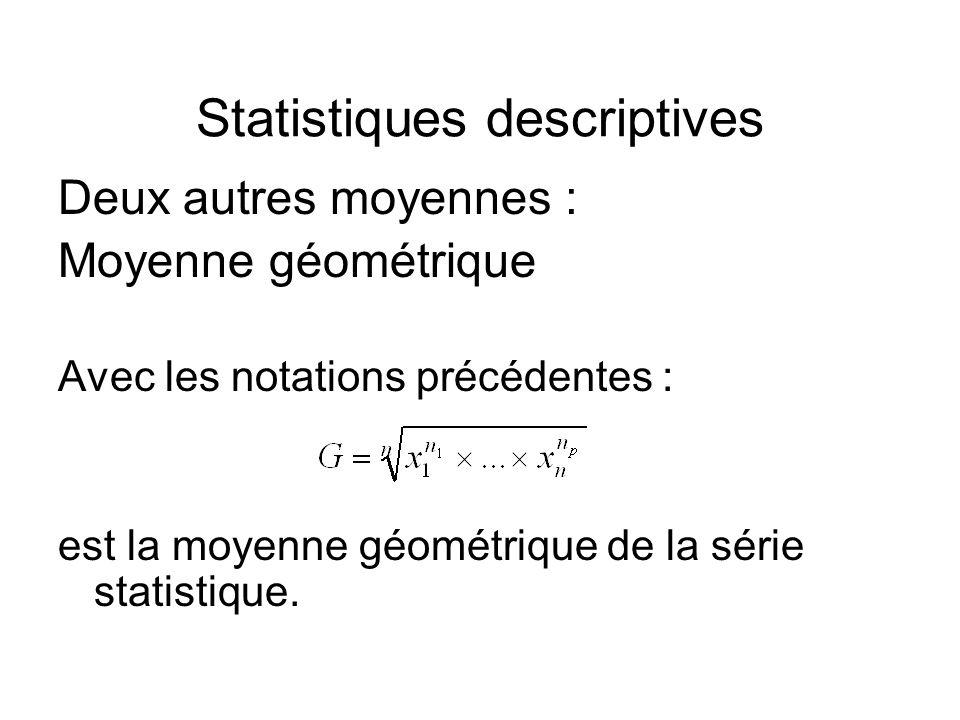 Statistiques descriptives Deux autres moyennes : Moyenne géométrique Avec les notations précédentes : est la moyenne géométrique de la série statistiq