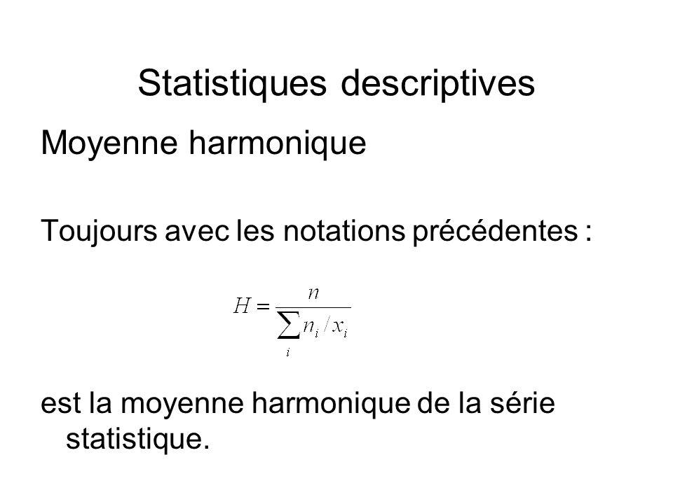 Statistiques descriptives Moyenne harmonique Toujours avec les notations précédentes : est la moyenne harmonique de la série statistique.