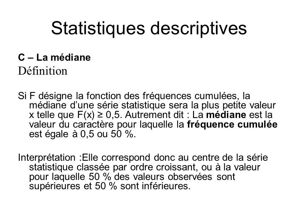 Statistiques descriptives C – La médiane Définition Si F désigne la fonction des fréquences cumulées, la médiane d'une série statistique sera la plus
