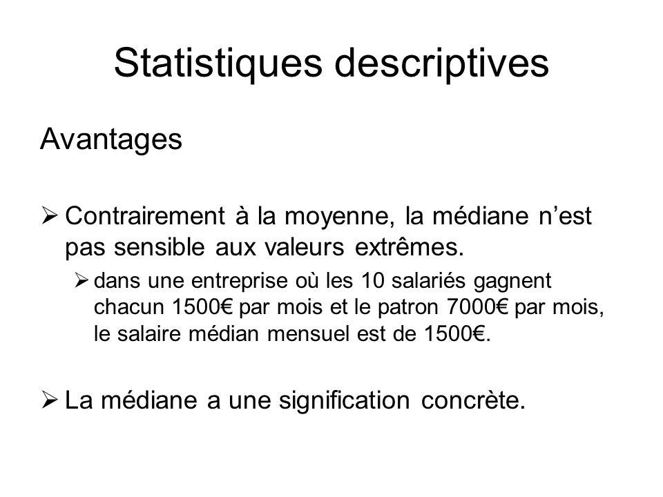 Statistiques descriptives Avantages  Contrairement à la moyenne, la médiane n'est pas sensible aux valeurs extrêmes.  dans une entreprise où les 10
